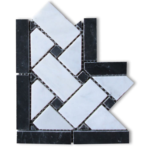 Carrara White Marble Polished Basketweave Border Corner w / Black Dots