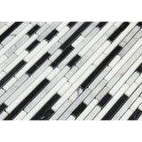 Carrara White Marble Honed Tricolor Bamboo Sticks Mosaic (Carrara + Thassos + Black )