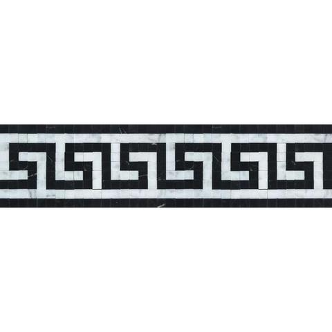 Carrara White Marble Honed Greek Key Border w / Black Dots