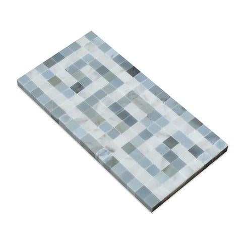 Carrara White Marble Honed Greek Key Border w / Blue Gray Dots