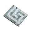 Carrara White Marble Honed Greek Key Border Corner w / Blue Gray Dots