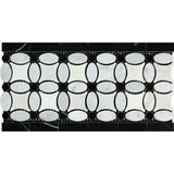 Carrara White Marble Polished Florida Flower Border w/Black Dots