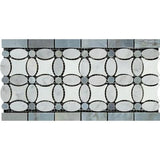 Carrara White Marble Polished Florida Flower Border w/Blue-Gray Dots