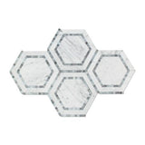 "Carrara White Marble Polished 5"" Hexagon Combination Mosaic Tile w / Blue-Gray"