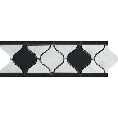 Carrara White Marble Honed Lantern Border w / Black Dots