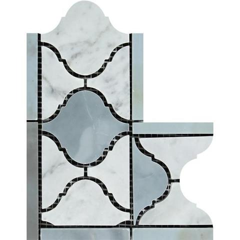 Carrara White Marble Polished Lantern Border Corner w / Blue Gray Dots