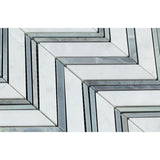 Carrara White Marble Honed Large Chevron Mosaic Tile w / Blue-Gray Strips