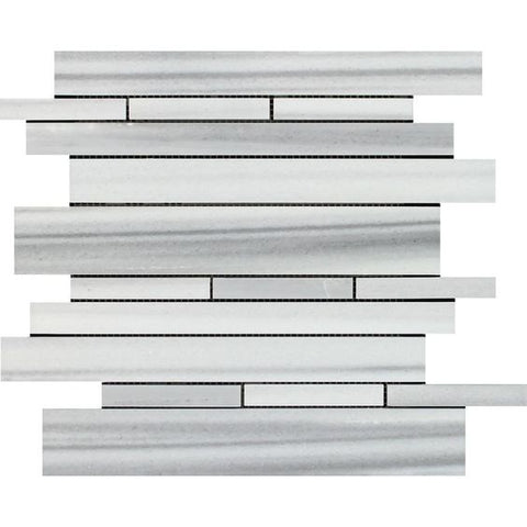 Mink Marmara Equator Marble Polished Random Strip Mosaic Tile