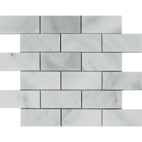 2 x 4 Bianco Venatino (Bianco Mare) Marble Polished Brick Mosaic Tile - American Tile Depot - Shower, Backsplash, Bathroom, Kitchen, Deck & Patio, Decorative, Floor, Wall, Ceiling, Powder Room, Indoor, Outdoor, Commercial, Residential, Interior, Exterior