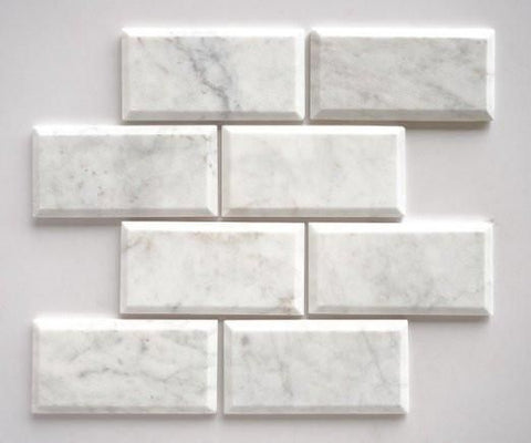 3 X 6 Carrara White Marble Polished & Deep-Beveled Field Tile - American Tile Depot - Shower, Backsplash, Bathroom, Kitchen, Deck & Patio, Decorative, Floor, Wall, Ceiling, Powder Room, Indoor, Outdoor, Commercial, Residential, Interior, Exterior