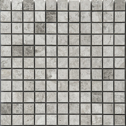 1 X 1 Tundra Gray (Atlantic Gray) Marble Honed Mosaic Tile