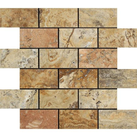 2 X 4 Scabos Travertine Polished Brick Mosaic Tile - American Tile Depot - Shower, Backsplash, Bathroom, Kitchen, Deck & Patio, Decorative, Floor, Wall, Ceiling, Powder Room, Indoor, Outdoor, Commercial, Residential, Interior, Exterior