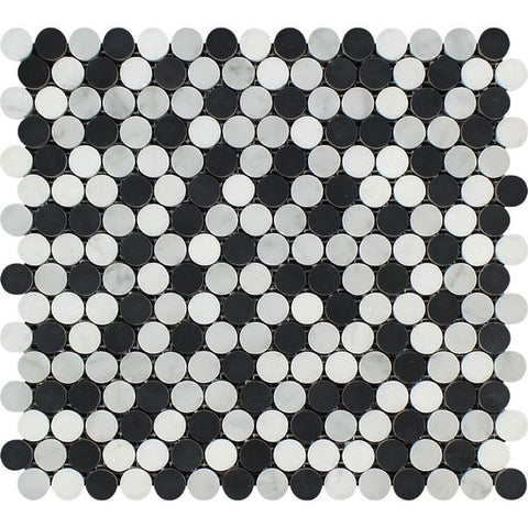 Carrara White Marble Honed Penny Round Mosaic Tile w / Black Dots