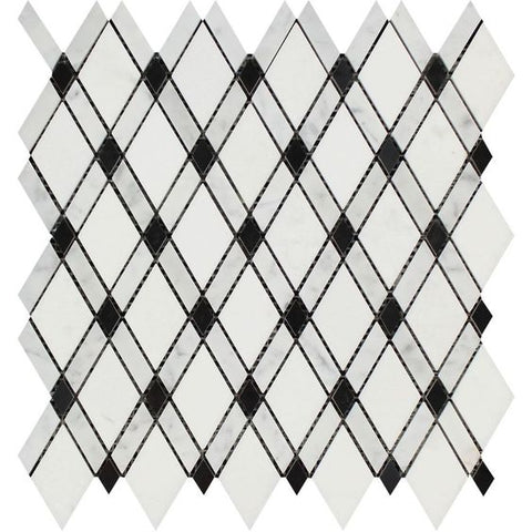 Thassos White Marble Polished Lattice Mosaic Tile w / Black Dots