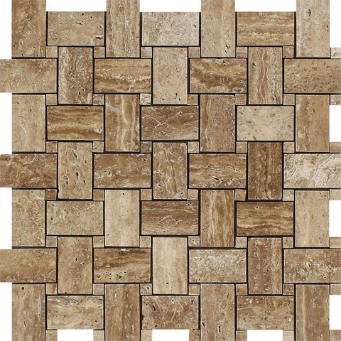 Noce Exotic Travertine (Vein-Cut) Polished & Unfilled Basketweave Mosaic Tile