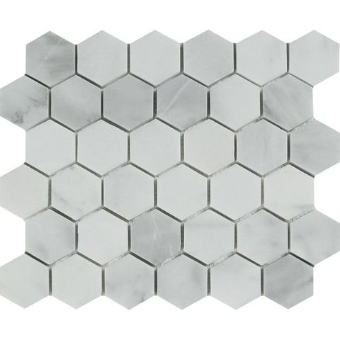 "Bianco Venatino (Bianco Mare) Marble Honed 2"" Hexagon Mosaic Tile"