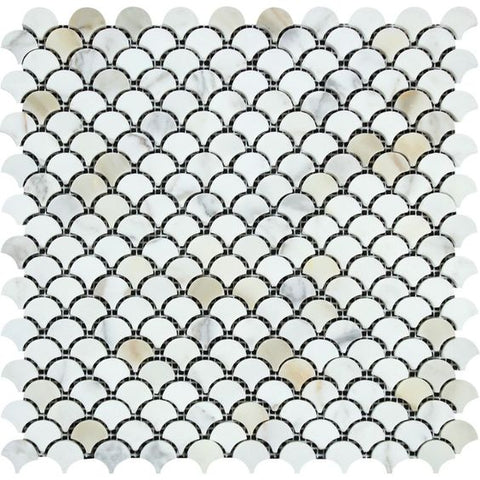 Calacatta Gold Marble Polished Fan Mosaic Tile