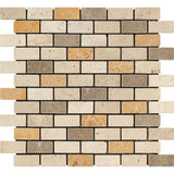 1 X 2 Mixed Travertine Tumbled Brick Mosaic Tile - American Tile Depot - Shower, Backsplash, Bathroom, Kitchen, Deck & Patio, Decorative, Floor, Wall, Ceiling, Powder Room, Indoor, Outdoor, Commercial, Residential, Interior, Exterior