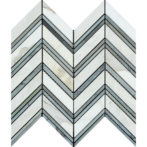 Calacatta Gold Marble Honed Large Chevron Mosaic Tile w / Blue - Gray Dots Marble Strips