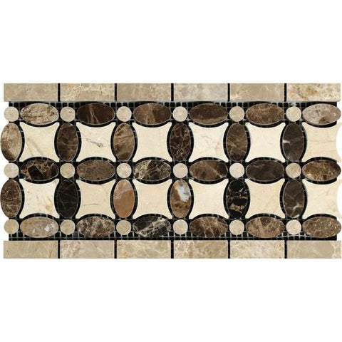 Emperador Dark Marble Polished Florida Flower Border Listello w/ Crema Marfil Dots