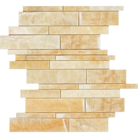 Honey Onyx Polished Random Strip Mosaic Tile