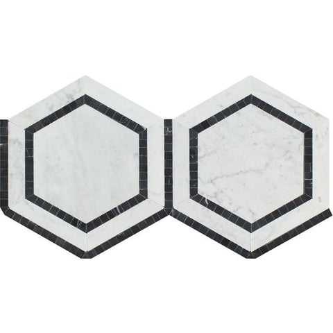 "Carrara White Marble Polished 5"" Hexagon Combination Mosaic Tile w / Black"