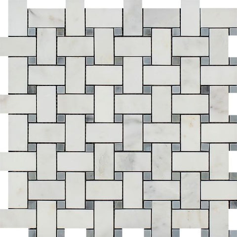 Oriental White / Asian Statuary Marble Honed Basketweave Mosaic Tile w/ Blue Gray Dots