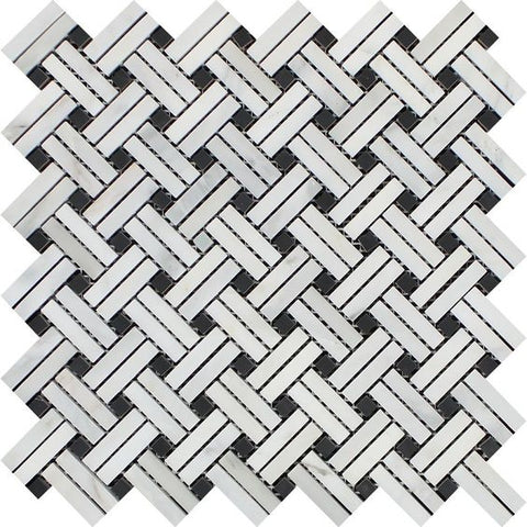 Oriental White / Asian Statuary Marble Honed Stanza Basketweave Mosaic Tile w / Black Dots
