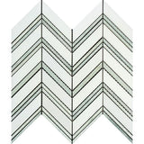 Thassos White Marble Honed Large Chevron Mosaic Tile w / Ming-Green Dots Strips