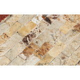 1 X 2 Valencia Travertine Split-Faced Brick Mosaic Tile