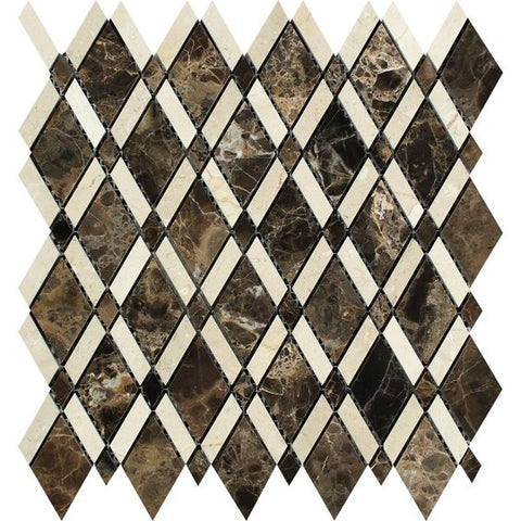 Emperador Dark Marble Polished Lattice Mosaic Tile w/ Crema Marfil Stripe