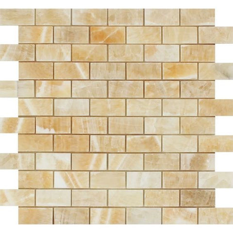 1 X 2 Honey Onyx Polished Brick Mosaic Tile - American Tile Depot - Shower, Backsplash, Bathroom, Kitchen, Deck & Patio, Decorative, Floor, Wall, Ceiling, Powder Room, Indoor, Outdoor, Commercial, Residential, Interior, Exterior