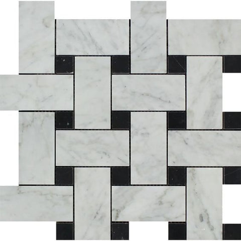 Carrara White Marble Honed Large Basketweave Mosaic Tile w/ Black Dots