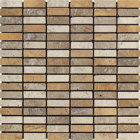 Mixed Travertine Tumbled Single Strip Mosaic Tile