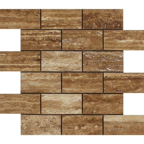 2 X 4 Noce Exotic Travertine (Vein-Cut) Brushed & Unfilled Brick Mosaic Tile - American Tile Depot - Shower, Backsplash, Bathroom, Kitchen, Deck & Patio, Decorative, Floor, Wall, Ceiling, Powder Room, Indoor, Outdoor, Commercial, Residential, Interior, Exterior