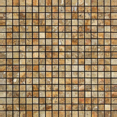 5/8 X 5/8 Scabos Travertine Polished Mosaic Tile