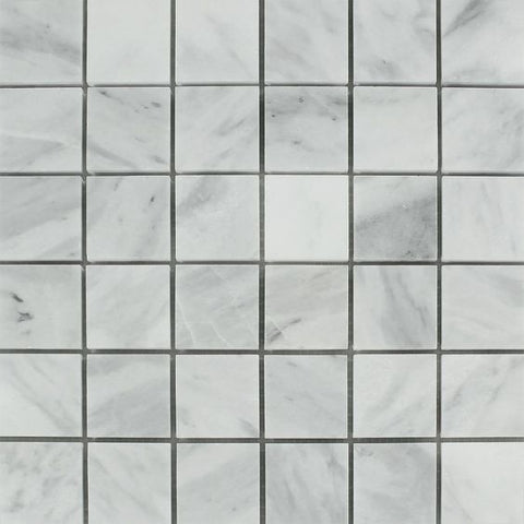 2 X 2 Bianco Venatino (Bianco Mare) Marble Polished Mosaic Tile - American Tile Depot - Shower, Backsplash, Bathroom, Kitchen, Deck & Patio, Decorative, Floor, Wall, Ceiling, Powder Room, Indoor, Outdoor, Commercial, Residential, Interior, Exterior
