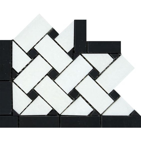 Thassos White Marble Honed Basketweave Border Corner w / Black Dots