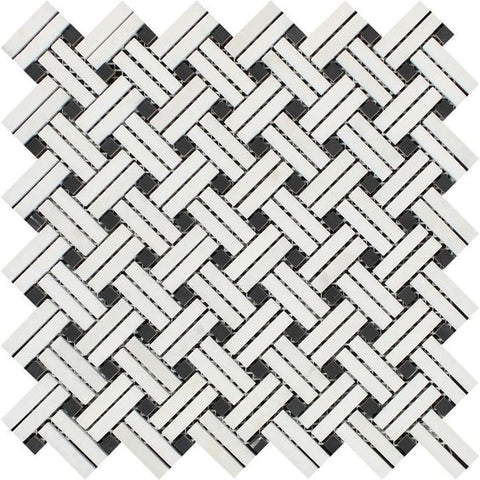 Thassos White Marble Polished Stanza Basketweave Mosaic Tile w/ Black Dots