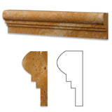 Gold / Yellow Travertine Honed OG-2 Chair Rail Molding Trim - American Tile Depot - Commercial and Residential (Interior & Exterior), Indoor, Outdoor, Shower, Backsplash, Bathroom, Kitchen, Deck & Patio, Decorative, Floor, Wall, Ceiling, Powder Room - 1