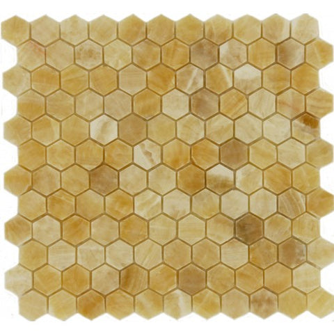 Honey Onyx Polished 1'' Hexagon Mosaic Tile