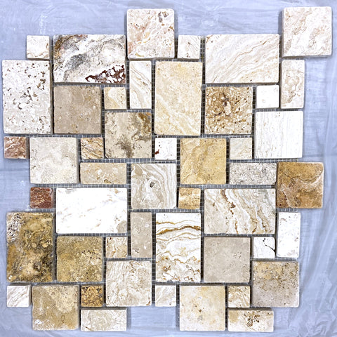 Valencia Travertine Tumbled Micro-Pattern (Mini Versailles) Mosaic Tile