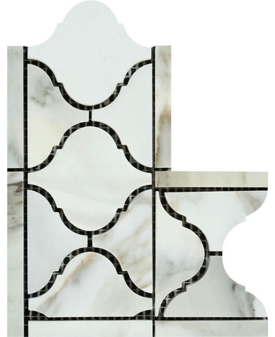 Calacatta Gold Marble Polished Lantern Border Corner