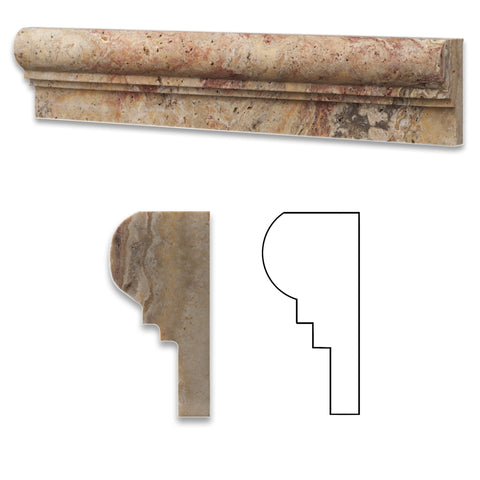 Scabos Travertine Honed OG-2 Chair Rail Molding Trim - American Tile Depot - Commercial and Residential (Interior & Exterior), Indoor, Outdoor, Shower, Backsplash, Bathroom, Kitchen, Deck & Patio, Decorative, Floor, Wall, Ceiling, Powder Room - 1