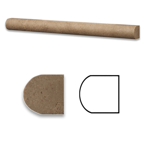 Noce Travertine Honed 1 X 12 Dome Liner - American Tile Depot - Commercial and Residential (Interior & Exterior), Indoor, Outdoor, Shower, Backsplash, Bathroom, Kitchen, Deck & Patio, Decorative, Floor, Wall, Ceiling, Powder Room - 1