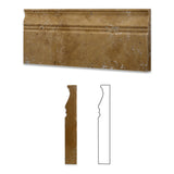 Gold / Yellow Travertine Honed 5 X 12 Baseboard Trim Molding - American Tile Depot - Commercial and Residential (Interior & Exterior), Indoor, Outdoor, Shower, Backsplash, Bathroom, Kitchen, Deck & Patio, Decorative, Floor, Wall, Ceiling, Powder Room - 1