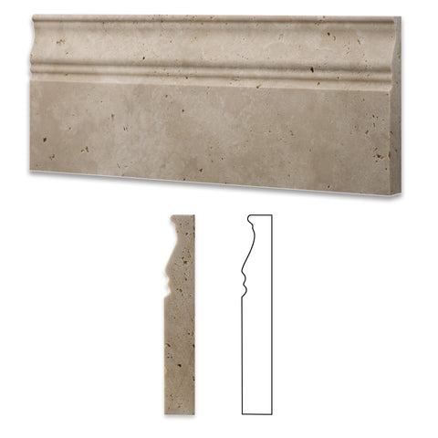 Ivory Travertine Honed 5 X 12 Baseboard Trim Molding - American Tile Depot - Commercial and Residential (Interior & Exterior), Indoor, Outdoor, Shower, Backsplash, Bathroom, Kitchen, Deck & Patio, Decorative, Floor, Wall, Ceiling, Powder Room - 1