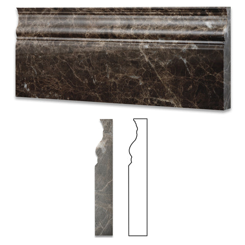 Emperador Dark Marble Polished Baseboard Trim Molding - American Tile Depot - Commercial and Residential (Interior & Exterior), Indoor, Outdoor, Shower, Backsplash, Bathroom, Kitchen, Deck & Patio, Decorative, Floor, Wall, Ceiling, Powder Room - 1