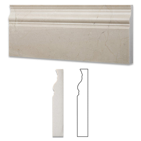 Crema Marfil Marble Polished Baseboard Trim Molding - American Tile Depot - Commercial and Residential (Interior & Exterior), Indoor, Outdoor, Shower, Backsplash, Bathroom, Kitchen, Deck & Patio, Decorative, Floor, Wall, Ceiling, Powder Room - 1