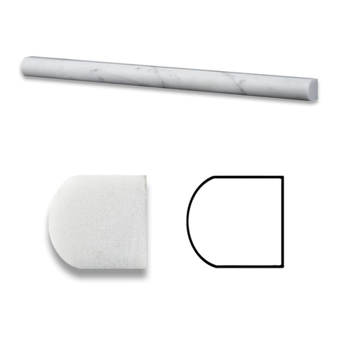 Carrara White Marble Polished 3/4 X 12 Bullnose Liner - American Tile Depot - Commercial and Residential (Interior & Exterior), Indoor, Outdoor, Shower, Backsplash, Bathroom, Kitchen, Deck & Patio, Decorative, Floor, Wall, Ceiling, Powder Room - 1